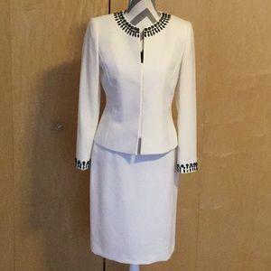 Tahari Collarless Embellished Beaded Skirt Suit